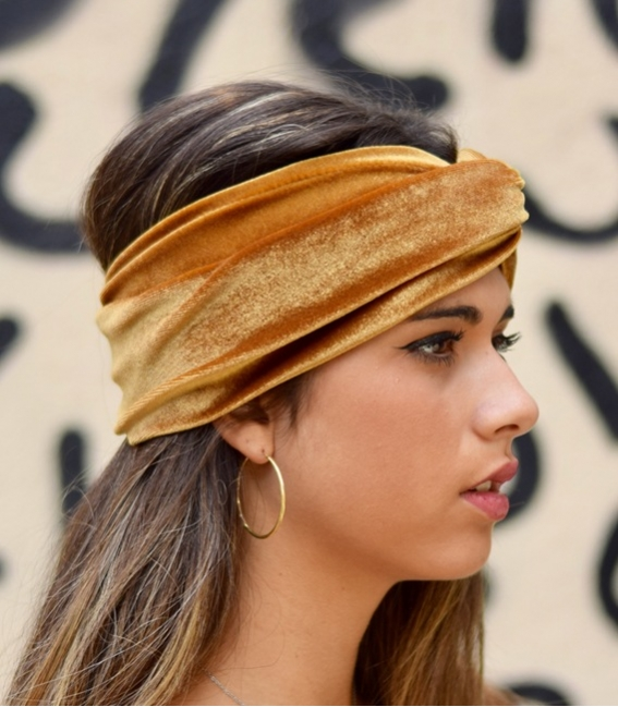 Olive green turban headbands for women