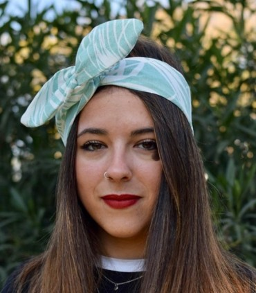 Green velvet turban headband