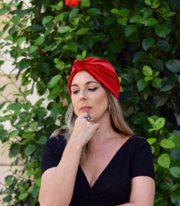 Rust orange turban hat, multiway head scarf